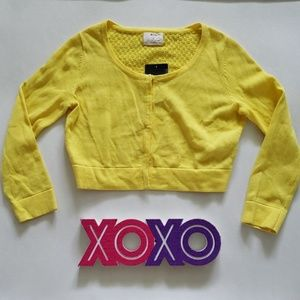 PINS AND NEEDLES yellow knit cropped cardigan